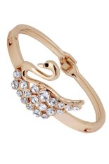 Yazilind Women's Fashion Jewelry Rose Gold Crystal Cute Swan Bangle Bracelet