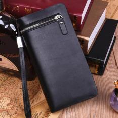 YBC Business Men Long Wallet Zipper Purse Leather Handbags Multi-card Long Purse Black