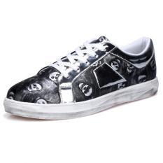 YINGLUNQISHI Men's Classic Pu Leather Board Shoes Skull Sneakers J38 (Black) (Intl)