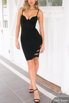 YOINS New 2016 Sexy Women Black Cut Out Sleeveless Cami Mini Dress Fashion  Plunge V- 9adbefd5b
