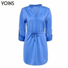 YOINS wanita V seksi nevk Solid gaun kemeja longgar lengan yang dapat disesuaikan .