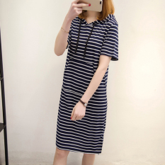 Yr88853 versi Korea adalah garis-garis tipis longgar t-shirt rok lengan pendek gaun (Biru dan putih garis-garis)