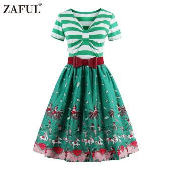 Zaful Women Fashion Vintage Printing Dress Retro Style Defined Waist (Green) - intl