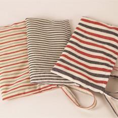 Zakka cahaya garis-garis abu-abu kecil tas dan dompet tas (Merah dan abu-abu garis-garis tebal)