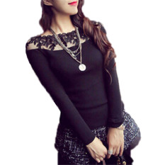 ZANZEA 2016 Fashion Lace Floral Embroidery Shirts Women's Long Sleeve Slim Knitted Blouse Black Striped Casual Knitwear Pullover Blusas - Intl