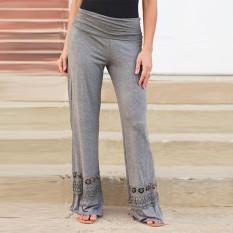 ZANZEA Wide Leg Pants Size S-3 XL Long Trousers Fashion 2016 Women Vintage Loose High Waist Lace Patchwork Casual Cotton Pants - Intl