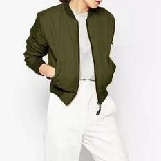 ZANZEA Women 2016 Autumn Winter Women Thin Basic Jacket Long Sleeve Stand Collor Celeb Bomber Coats Zipper Outwear Plus Size Army Green - Intl