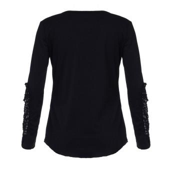 ZANZEA Women Korean Round Neck Long Sleeve Embroidery T-shirt