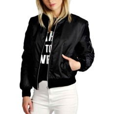 ZANZEA Womens Classic Padded Bomber Jacket Ladies Vintage Zip Up Biker Coat (Intl)