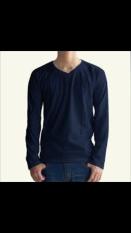 Zero One Store T-Shirt Kaos Polos Lengan Panjang V Neck Biru Dongker