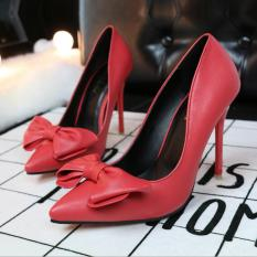 ZH Shopping Ms bowknot is fine with shallow mouth pointed high-heeled shoes Red - intl