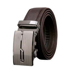 ZigZagZong Fashion Genuine Leather Mens Black Brown Alloy Automatic Buckle Waist Strap Belt (Brown) - Intl