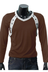 ZigZagZong New Mens Long Sleeve Shirt V-neck Casual Slim Fit Muscle T-shirt Tops Tee 4size (Brown) (Intl)
