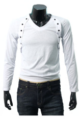 ZigZagZong New Mens Long Sleeve Shirt V-neck Casual Slim Fit Muscle T-shirt Tops Tee 4size (White) (Intl)
