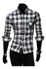 ZigZagZong New Mens Slim Fit Casual & Dress Plaid Check Shirt Long Sleeve (Black) (Intl)