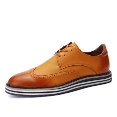 ZNPNXN Leather Men's Fromal Shoes Low Cut Shoes (Yellow)