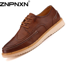 ZNPNXN Men's Casual Leather Flat Shoes Formal Shoes (Brown)