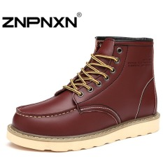 ZNPNXN Men's Fashion 2016 Flat With The Tube Cold Boots Martin Leather Boots(Red)