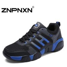 ZNPNXN Men's Fashion Casual Sports Shoes Breathable Lace-Up Shoes (Black / Blue)