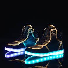 ZNPNXN Men's Fashion Fashion Led Shoes Boots Shoes (Black)
