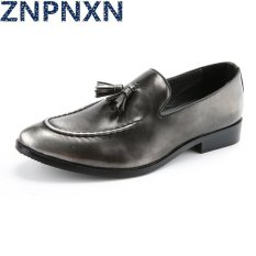 ZNPNXN Men's Fashion Formal Shoes & Low Cut Shoes Leather Shoes (Silver)
