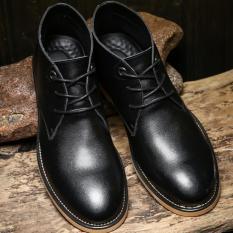 ZNPNXN Men's Fashion Lace-up Shoes Leather Shoes Boots Formal Shoes Low Cut Shoes Shoes Walking Shoes (Black)