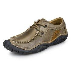 ZNPNXN Men's Fashion Lace-up Shoes Leather Shoes Formal Shoes Low Cut Shoes Shoes Walking Shoes (Khaki)