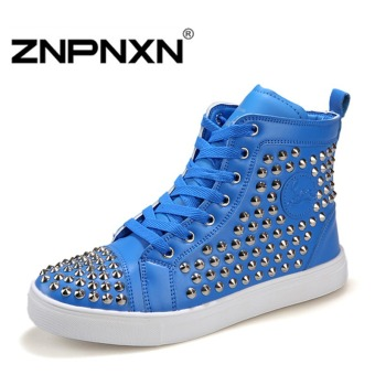 ZNPNXN Men's Fashion Large Size Rivet Casual Shoes High To Help(Blue)