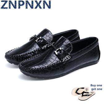 ZNPNXN Men's Fashion Slip-on Loafers Leather Shoes (Black)