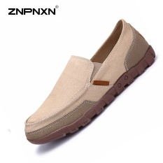 ZNPNXN Men'S Shoes Canvas Shoes Casual Shoes Mens Slip On Shoes Solid Color Men Casual Shoes mens loafers Chaussure Homme Sapato Masculino Size 38-48 Yards(Khaki) - intl