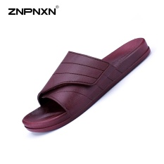 ZNPNXN Men'S Shoes New Summer Flip Flops Slippers Magic Buttons Men'S Slippers Thick Bottom Comfortable Men Slippers Beach Shoes Size 40-45 Yards (Burgundy) - intl