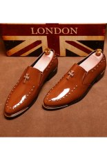 Znpnxn Patent Leather Men's Loafers Formal Shoes (Brown) (Intl)