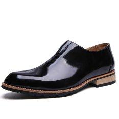 ZNPNXN Suede Men's Formal Shoes Low Cut (Black)