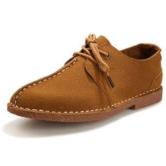ZNPNXN Suede Men's Formal Shoes Low Cut (Khaki)