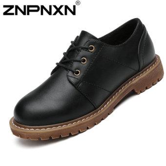 ZNPNXN Women's Fashion college style Lace-Ups SHoes Leather Shoes Fashion Shoes (Black)