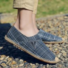 ZOQI Men's And Women's Fashion Flat Shoes Cotton Straw Shoes Slip-Ons & Loafers (Blue) - Intl