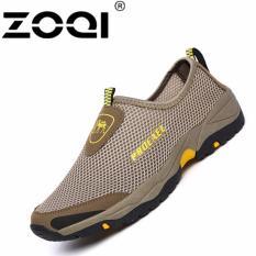 ZOQI mode Sepatu Kets Pria di net slip-ons berjalan sepatu (hijau).