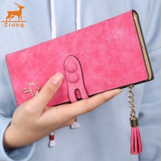 Zrong Women Lady Synthetic Leather Card Holder Long Trifold Wallet Clutch Checkbook Tassel Handbag Purse (Rose Red) - Intl