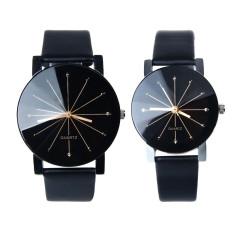1 pasang laki-laki dan perempuan dial jam tangan jam kuarsa Kulit Hitam