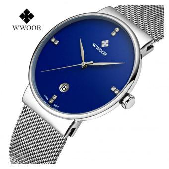 (100% Authentic)WWOOR Men Watches Luxury Ultra Thin 50M Waterproof Casual Sports Watch 8018(Blue) - intl