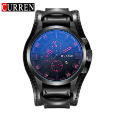 [100% Genuine] CURREN 8225 Men's Round Analog Wrist Watch With Three Decorated Sub-Dial, Alloy Case & Faux Leather Band For Men - Intl