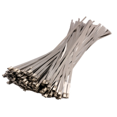 100PCS 4.6 x 300mm Stainless Steel Exhaust Wrap Coated Locking Cable Zip Ties (Silver)