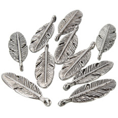10pcs Tibetan Silver Feather Charms Pendants Earring Necklace Bracelet Jewellery