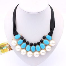 1pcs Women Luxury Sweet Pearl Ribbon Bib Choker Statement Collar Necklace Blue