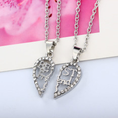2 Parts 'BEST FRIENDS' Hollow Splice Heart Pendant Silver Necklace Set with Rhinestone Lobster Clasp Personalized Fine Jewelry Christmas Gift 45cm (Intl)