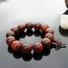 2 Pcs Chinoiserie Accessory Strand Bracelet Beads Of Rosewood and Sandalwood Olished with Natural Pattern