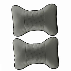 2 Pcs PU Leather Car Seat Pillow Hole-digging Car Headrest Leather Auto Supplies Neck Pillow Perforating Design Auto Safety Pillows Universal Fit For Automotive (Gery)
