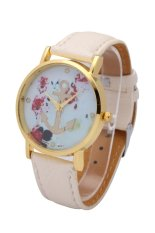 2015 Hot Flower Print Watches Fashion Women Leather Watch Rose Printing Wrist Watch Lady Quartz Clock Gift (Green) (Intl)