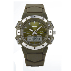 2015 Multifunction Luxury Mens Rubber Sport Watch with Compass Date Day Display Sport Military Men Watch Running Army Green (Intl)