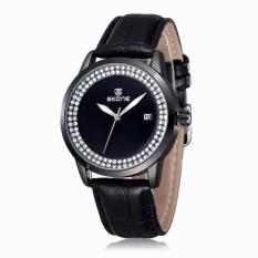 2015 SKONE Brand Popular Watches Women Fashion Rhinestone Dress Watch Casual Leather Strap Quartz Wristwatches (Black) (Intl)